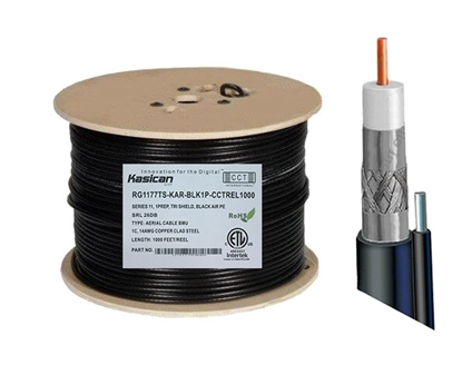Picture of Aerial Messenger RG11 Coaxial Cable   CCT-RG11-77TS-KAR-BLK1P