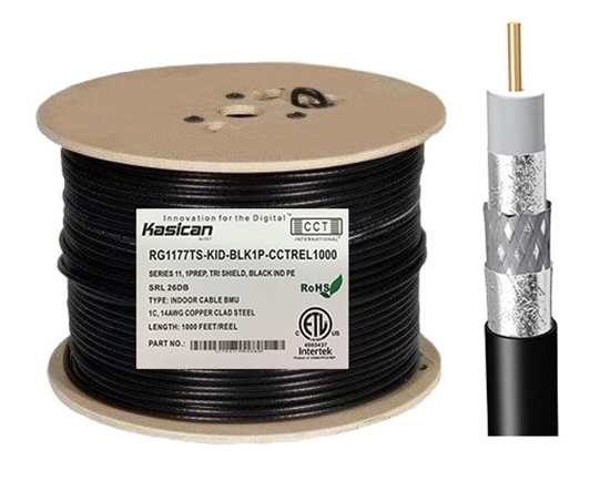 Picture of Indoor RG11 Coaxial Cable   CCT-RG11-77TS-KID-BLK1P