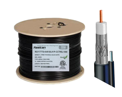 Picture of Aerial Messenger RG6 Coaxial Cable   CCT-RG6-77TS-KAR-BLK1P