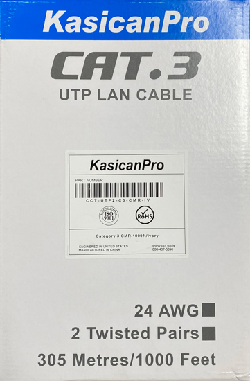 Picture of CAT3 24 AWG UTP PV 1000ft  CCT-UTP2-C3-CMR-IV