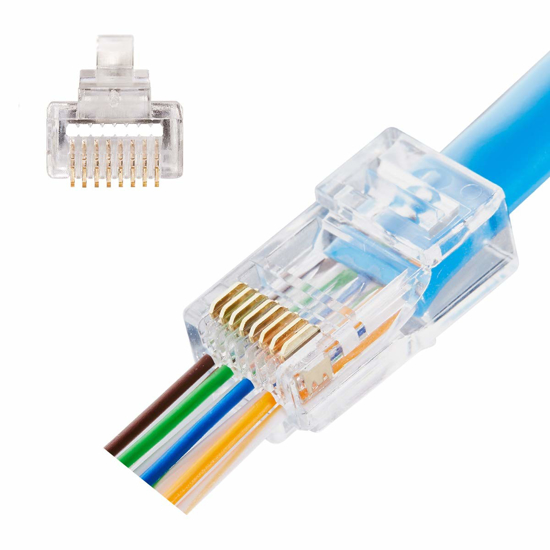 Picture of CAT5E Connector Rj45 Pass Through   CCT-CAT5E-24AWG